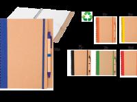 Brezčrtasti blok iz recikliranega papirja z elastiko, kemični svinčnik