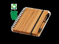 Črtasti blok A5 in kemični svinčnik iz bambusa