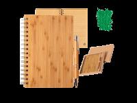 Črtasti blok A5 in kemični svinčnik iz bambusa v darilni embalaži