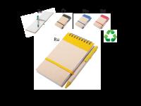 Spiralna črtasta beležka B7 iz recikliranega papirja in recikliran kemični svinčnik